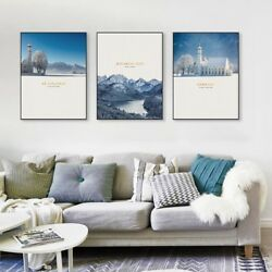 White Blue Snow Mountain Church Posters Prints Nordic Home Decor Canvas Painting