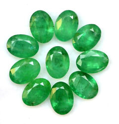Certified Natural Emerald 5x3 Mm Oval Cut Green Loose Faceted Gemstone Lot