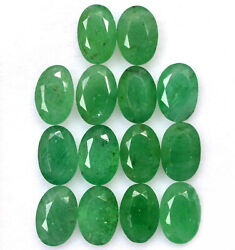 Certified Natural Emerald 7x5 Mm Oval Cut Green Loose Faceted Gemstone Lot