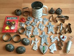 Old Vtg Metal Christmas Holiday Cookie Cutter Sifter Mold Gingerbread Lot Of 40