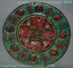 12tibet Bronze Inlay Turquoise Red Coral 8 Treasures Dragon Plate Wall Haning