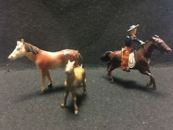Old Vtg Collectible Lead Horse Lot Of 3 Cowboy Western Train Garden Figures