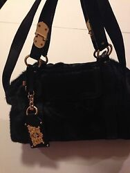 Juicy Couture ShoulderHand Bag Cowhide Leather Black With Zipper For Women