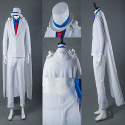 Hot Kaitou Kiddo Kid The Phantom Thief Cosplay Costume Full Suit With Hat Cape