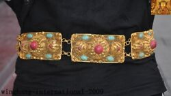 Old China Dynasty Palace Silver Gilt 24k Gold Inlay Turquoise Coral Belt Girdle