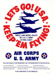 Letand039s Go Usa Keep And039em Flying - Us Army Air Corps - 1941 - Recruitment Poster