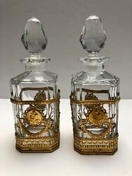 Magnificent Baccarat Crystal And Dore Bronze Perfume Bottles Pair