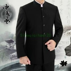 Menand039s Chinese Traditional Coat Mandarin Formal Collar Single Breast Suit Jacket