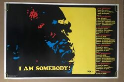 I Am Somebody Vintage Blacklight Poster 1970's I Am Black Power Panther Pin-up