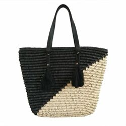 Natural Straw Tote Shoulder Bag Womens Large - Washable Lining BEACH'D black...