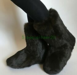 Womens Snow Boots Thicken Winter Warm Shoes Ankle Boots Faux Mink Fur Sz Comfort