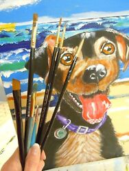 Feist Terrier Jack Russel Mix Dog  Acrylic Painting 12