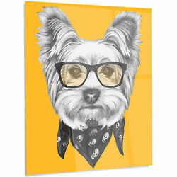 'Funny Terrier Dog with Glasses' Graphic Art on Metal 48
