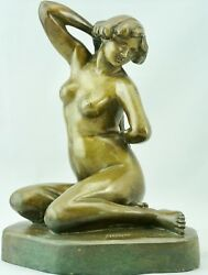 French Art Deco Bronze Sitting Nude By F. Trinque, 1930