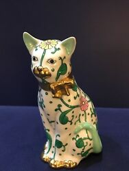 Herend Figurine- Cat w Bow - White Dynasty SBC