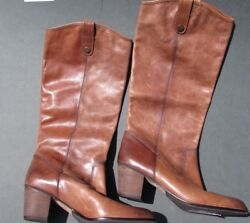 Vince Camuto Boots Shoes Size 11.5, 12 Brown Black Leather Cowboy Cowg Offer New
