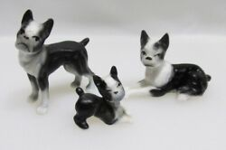 Vintage Miniature Bone China French Bull Dog Figures