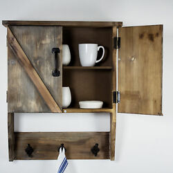 Rustic Farmhouse Wall Mount Storage Cabinet Cupboard, 2 Shelves, 3 Hanging Hooks