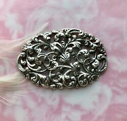 Antique Silver Filigree Crest Leaf Stamping - Jewelry Leaves Finding Fb-6108
