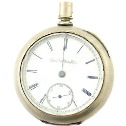Elgin Nalt.watch Co. White Dial Sterling Silver Pocket Watch For Parts Or Repair