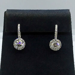 1.35 Cttw F/si-1 Round Diamond Dangle Halo French Back Earrings 18k White Gold
