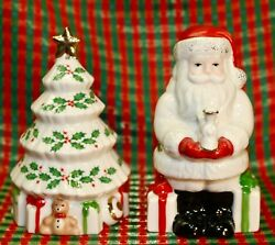 Lenox, Salt And Pepper Shakers, Santa And Christmas Tree, Holiday Pattern.