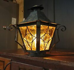 Vintage Amber Bubble Glass Pole Light - Wrought Iron Converted Gas Lamp- Murano