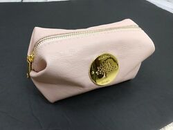 Mulberry blush leather travel toiletry bag cosmetic zippered leather pouch