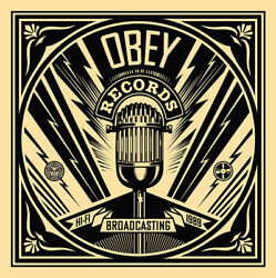 Shepard Fairey Broadcasting Mic Check 50 Shades Black Poster Art Print Obey