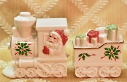 Lenox, Salt And Pepper Shakers, Train With Santa, Holiday Pattern.