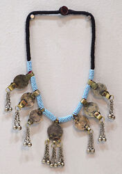Necklace Middle East Blue Beaded Silver Kuchi Coin Necklace 26