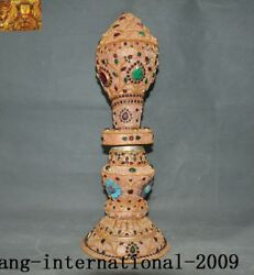 Rare Tibetan Conch Silver Filigree Inlay Turquoise Gem Conch Trumpet Horn Shell