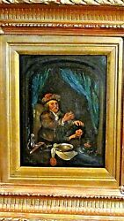 Antique 18c French Old Master Oil Painting Of Dentist Removing Teath From A Boy