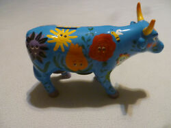 Vintage Emma Speciale Cow Figurine Coin Bank Pottery Blue Hand Painted Ceramic