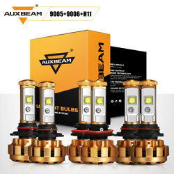 AUXBEAM 9005+9006+H11 6pcs CREE LED Headlights HiLow Beam Bulbs 6000K Fog Light