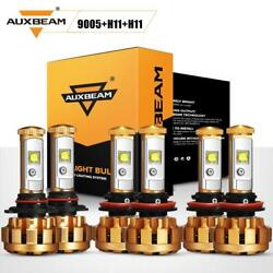 Auxbeam 6x 9005+H11+H11 LED Combo Headlight Kit High Low Beam+Fog Lights 6000K