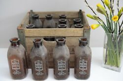12 Vintage Gates Homestead Farms Milk Bottles As Found Condition With Crate