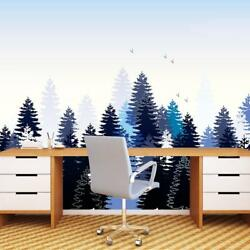 White Pine Tree Wallpaper Wall Mural Woven Self-adhesive Decor Zen Forest T103