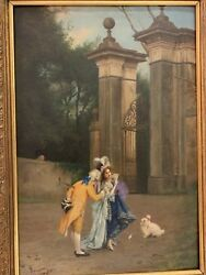 Italian Polychrome Painting Of Lovers In Courtyard And Dog Spiridon Rome 1872