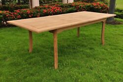 11-pc Outdoor Teak Dining Set 94 Rectangle Extn Table 10 Armless Chairs Vera