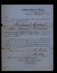 Confederate Military Appointment Samuel Saunders Lt. Col. 42nd Virginia Infantry