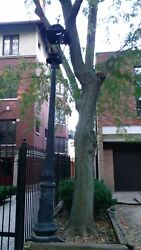Vintage Victorian Cast Iron 12' Street Light Post, Black One Only