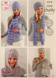 Knitting Pattern Ladies 4 Styles Hat And Scarf Sets Super Chunky King Cole 5318
