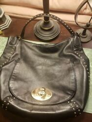 Beautiful RARE Coach Studded Circle Hobo Black Leather with Wallet