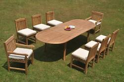 9-piece Outdoor Teak Dining Set 117 Oval Extension Table 8 Chairs Devon