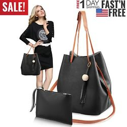 1Set 2Pcs Women Leather Handbags Shoulder Bags Lady Crossbody Bags Clutch Purse $7.92