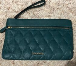 NEW VERA BRADLEY LARGE QUILTED HUNTER GREEN LEATHER CLUTCH WALLET WRISTLET ZIP