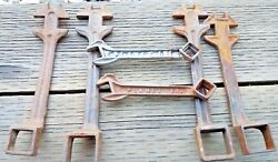 6 Vintage Farm Tractor Implement Wrenchs Buggy Cut Out Square Nut