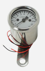 Custom Led Micro Tachometer 41 Ratio Mechanical Drive Chrome Body White Face