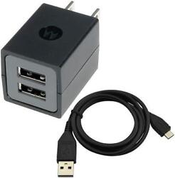 Motorola Oem Dual Usb Home Wall Travel Dc Power Adapter Charger Cable Sync Cord